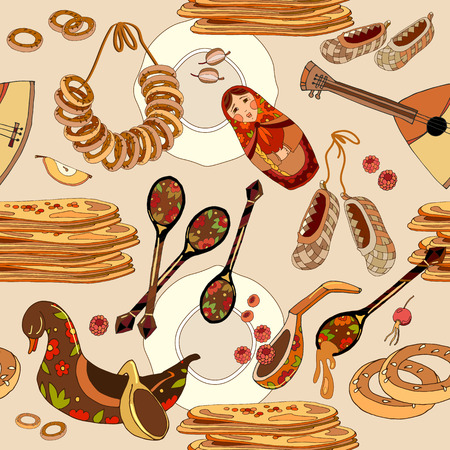 Russian cuisine seamless pattern. Hand drawn Russia national food, traditional background