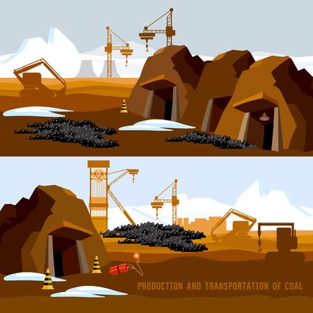 Coal Mine Banner, Prozess der Kohlebergbau, Planierraupen, Förder Karikatur. Bagger arbeiten auf Kohle-Tagebau