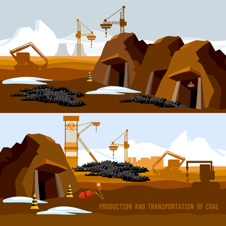 Coal mine banner, process of coal mining, bulldozers, conveyor cartoon. Excavator working on open pit coal mine
