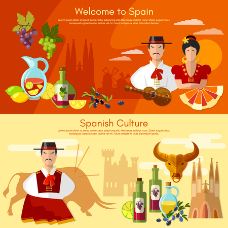 Welcome to Spain banner. Taditions and culture spanish attractions people, famenco matador bullfight Illustration