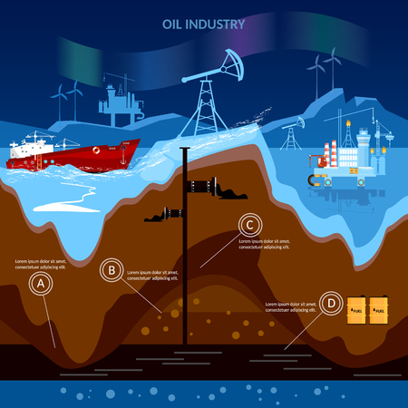 deep drilling: Oil industry, oil production and oil pump in north. Typical oil mining platform with drilling tower located on Arctic shelf