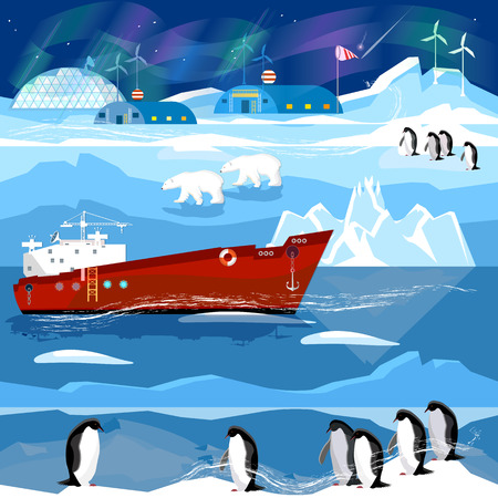 Travel to Antarctic and Arctic. Ice breaker, penguins, polar lights. Animals of Antarctica. Scientific base on North Pole Illustration