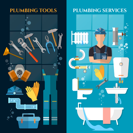 leaks: Plumbing service banner. Plumber different tools and accessories pipe repair elimination of leaks
