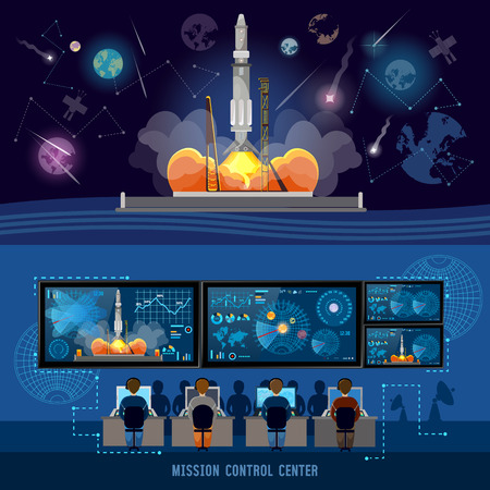 Mission Control Center, start rocket in space. Modern space technologies, return report of start of rocket. Space shuttle taking off on mission, spaceport 일러스트