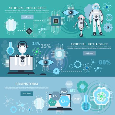 Künstliche Intelligenz Infografiken Schaffung von Robotern moderne Technologien Mikrochips Entwicklung Zukunftstechnologien Standard-Bild - 70079375