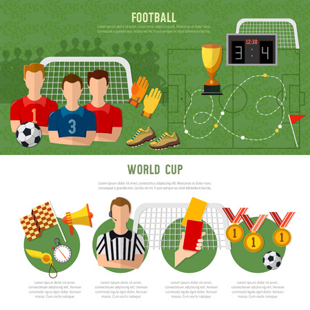 footbal: Soccer infographic, football team, signs and symbols elements of professional soccer template flat design Illustration