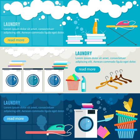 laundry room: Laundry service banner, washing machine, ironing clothes, laundry room interior Illustration