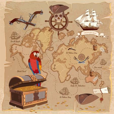 sombrero pirata: Antiguo mapa del tesoro pirata. cofre del tesoro de dirección loro cráneo rueda ron sabre sombrero de pirata y el barco. historias de aventuras fondo Vectores