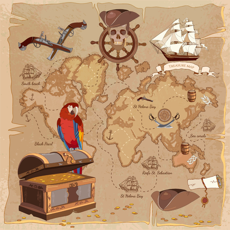 mariner: Old pirate treasure map. Treasure chest parrot steering wheel skull rum saber pirate hat and ship. Adventure stories background