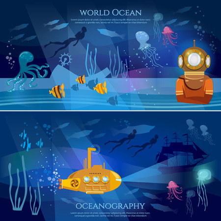 exploration: Sea exploration banner. Oceanography concept scientific research of sea and ocean, yellow submarine underwater with periscope Illustration
