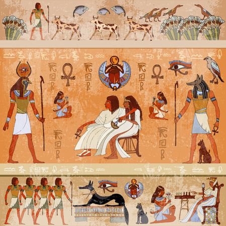 Ancient Egypt scene mythology. Egyptian gods and pharaohs. Hieroglyphic carvings on the exterior walls of an ancient temple. Murals ancient Egypt Illustration