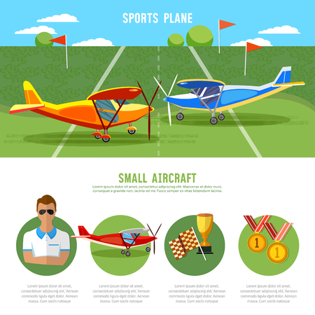 Infographics biplane, aviation school flying school professional pilot competitions of airplanes and biplanes excursion flights Illustration
