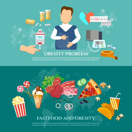 Obesity fat man diabetes and harmful food causes and effects of obesity