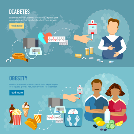Problems of obesity banner, diabetes, fat man and woman, improper feeding, bad food Illustration