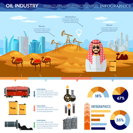 Oil production in Arab countries infographics, arab men exploration and production of oil sheiks in desert Illustration