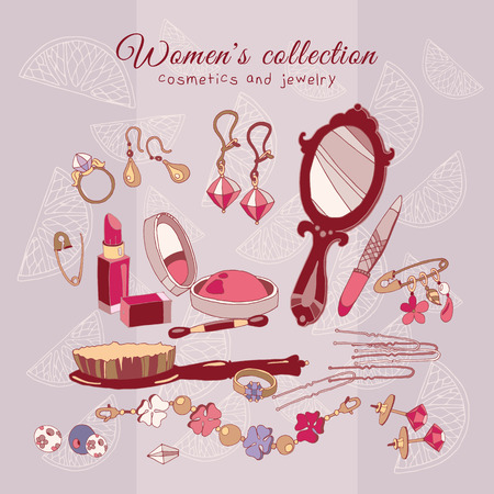 Womens collection make up cosmetics and jewelery, hand drawn female fashion accessories