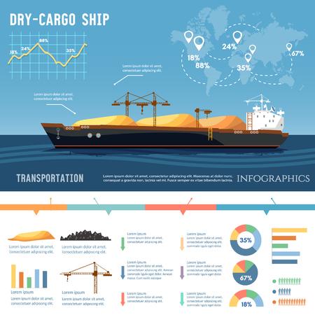 Barco de carga. Buque cisterna, buque de carga transporta carbón, arena. La logística y el concepto de transporte