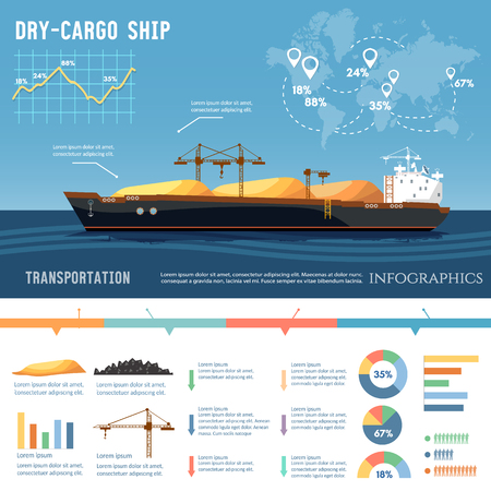 Cargo ship. Tanker, cargo ship transports coal, sand.  Logistics and transportation concept