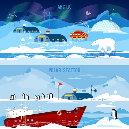 researches: North Pole, polar station banners. Scientific station studying of Antarctica and North Pole. Penguins, polar bears, polar lights