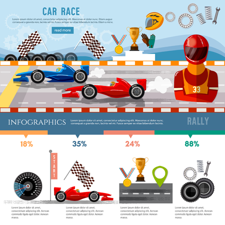 Car racing infographic, auto sport championship symbols and charts, racing formula cars on a start line template