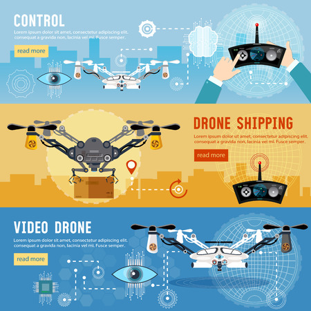 shadowing: Drone flat banner, modern drone and remote control for the quadrocopter,  carrying cardboard box. Drone for delivery, shadowing and entertainments modern technologies Illustration