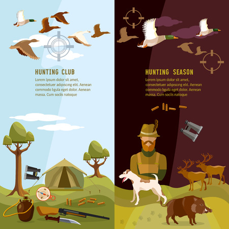 duck hunting: Hunting banners, hunter with rifle and dog in forest, duck hunting, ammunition: binoculars