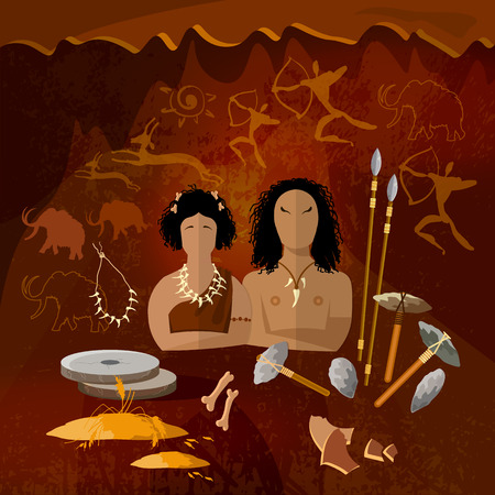 ancient civilization: Stone age, cave man and cave woman, neanderthal family in a cave, prehistoric tool. Neolithic, paleolith, mesolith, beginning of a civilization. Caveman art