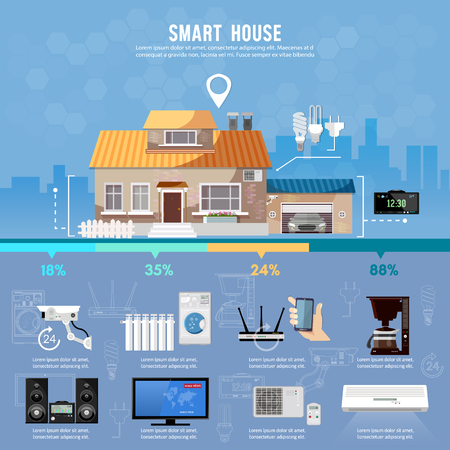 Smart home infographic. Modern technologies for household appliances. Smart house design presentation template. Remote control of house Vektoros illusztráció