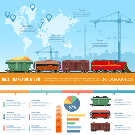 Cargo train global transport logistics presentation template. Freight trains concept. Cargo transportation by train, transportation of oil gas, toxic chemicals infographics