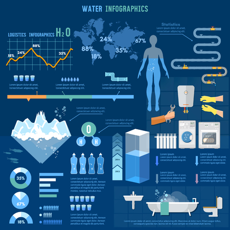 consumption: Water infographics world water consumption information graphics, total water resources reserves and water consumption presentation template Illustration