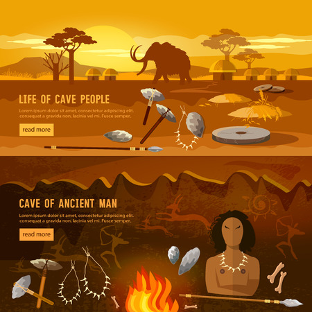 Stone age banner. Neanderthal man in a cave, hunting for mammoth, prehistoric tool. Neolithic, paleolith, mesolith, beginning of a civilization. Caveman art