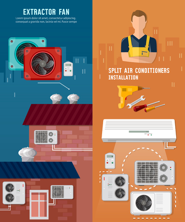 Split system, check ventilation systems, air conditioner installment and air conditioning repair. Installation of air conditioners banner Illustration
