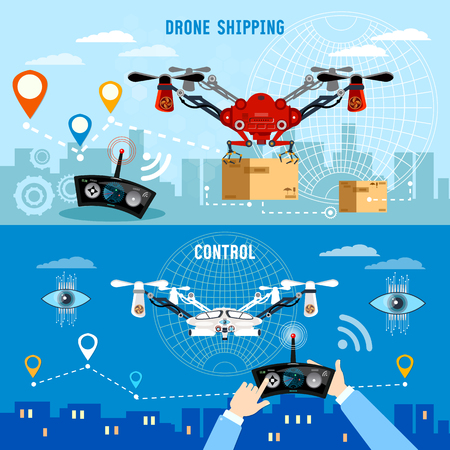 Drone delivery banner, modern drone and remote control for the quadrocopter,  carrying cardboard box. Drone for delivery modern technologies