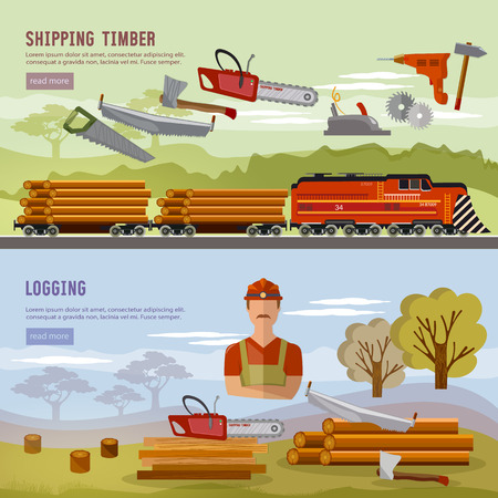 Logging industry banner. Woodcutter, deforestation, preparation of firewood, power-saw bench, transportation of logs by train Illustration