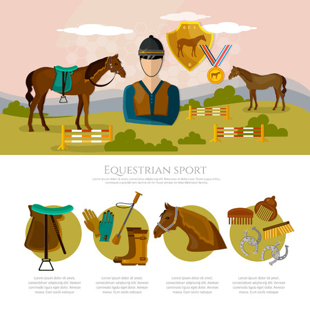 Equestrian sport infographics horse riding professional jockey equipment. Horse rising sport Illustration