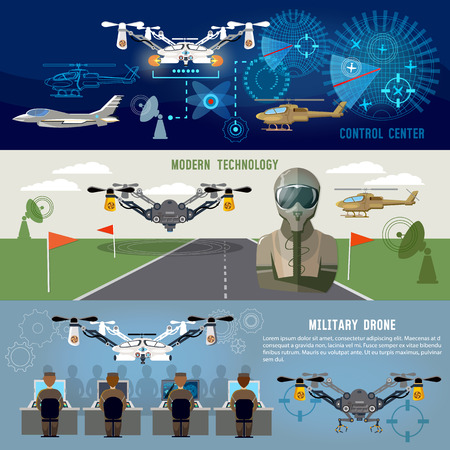 Military drone, mdern army aviation and weapons. Fighting flying robots, war technology of future. Fighter aircraft, helicopters, quadrocopters military drones, powerful army control center