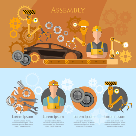 automotive industry: Car assembly line infographics conveyor belt operator automotive industry. Industrial automation conveyor robotic hands for manufacture Illustration