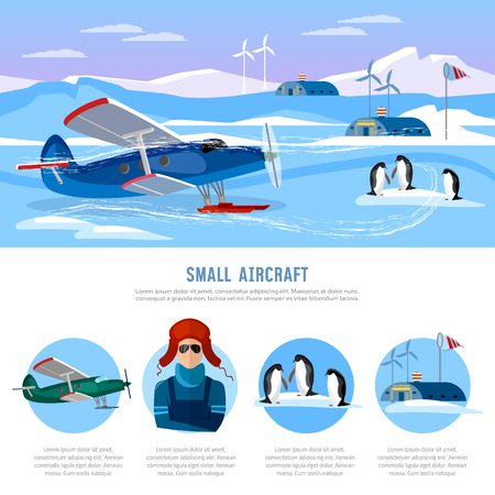 researches: Study of the Arctic and Antarctic, flight to North Pole. Small aircraft. Travel to Antarctica infographics.  Scientific polar explorers template design