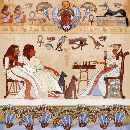 Murales antica Egypt.scene. divinità egiziana e faraoni. sculture geroglifici sulle pareti esterne di un antico tempio egizio