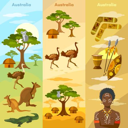 Australia travel banner. Animals and people of Australia, bushmen, koalas, ostriches, kangaroos