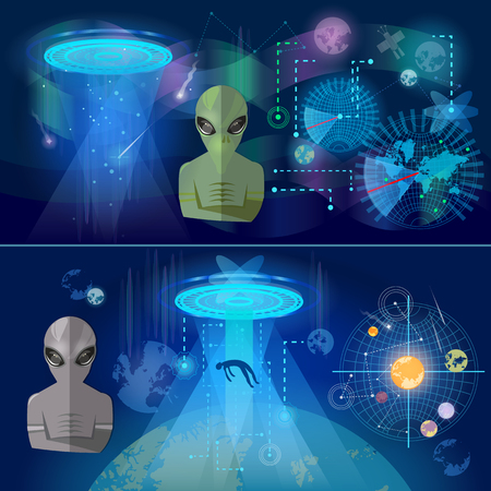 UFO banner, kidnapping aliens in space secret files kidnapping extraterrestrial beings, alien spaceship, UFO in dark night sky Illustration
