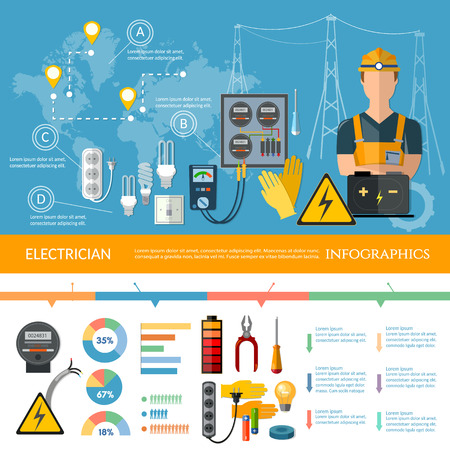 Professional electrician infographics electricity tools installation and repair electrical equipment presentation template Vector Illustration