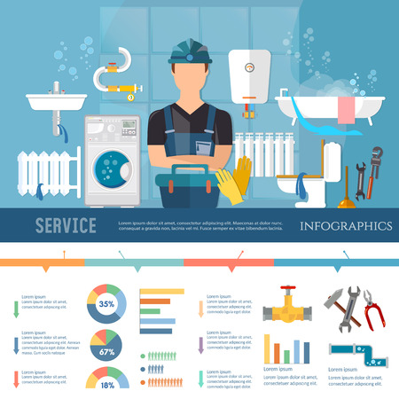 leaks: Professional plumber infographic pipe repair elimination of leaks. Plumbing service different tools and accessories infographics call plumber presentation template