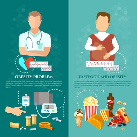 Obesitas en diabetes problemen met slecht voedsel, ziekten van hart- en vaatstelsel arts en patiënt Stockfoto - 71588528
