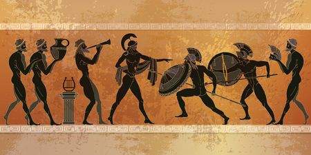 Ancient Greece scene. Black figure pottery. Ancient Greek mythology. Ancient warriors Sparta people, gods of  Olympus. Classical style Illustration