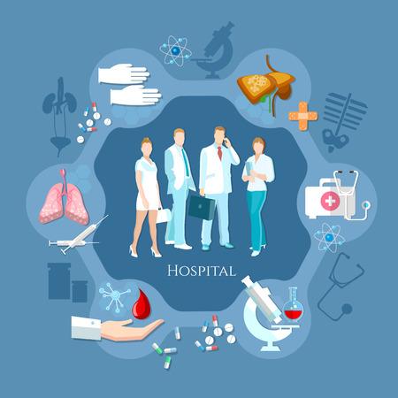 Professional team of doctors. Hospital medicine staff health service human organs operating transplantation