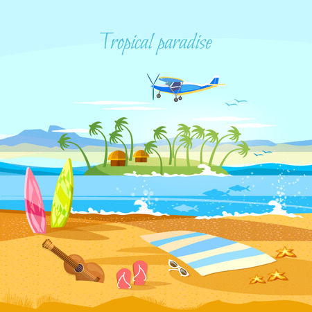 island paradise: Tropical island, paradise rest. Travel to Hawaii, Tahitii. Beautiful nature landscape of tropical island. Travel in summer