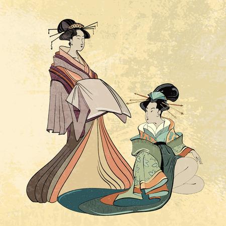 게이샤, 고대 일본, 드로잉의 고전적인 일본 여자 고대의 스타일. 아름 다운 일본 게이샤 소녀
