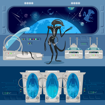 stasis: Alien monster in a spaceship. Astronauts in cryogenic cameras, interior of the interstellar ship. Scary alien from outer space attacks astronauts