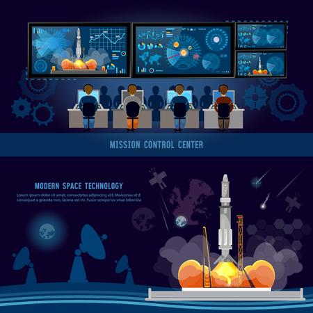 ミッション コントロール センター、スペース ロケット スタート。スペースシャトルのミッションは、将来の宇宙港に離陸。モダンな空間技術、ロ  イラスト・ベクター素材